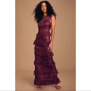 NEW Lulu's Burgundy Lace Tiered Maxi Gown Dress